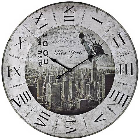 """New York 24"""" Wide Distressed White Wall Clock"""