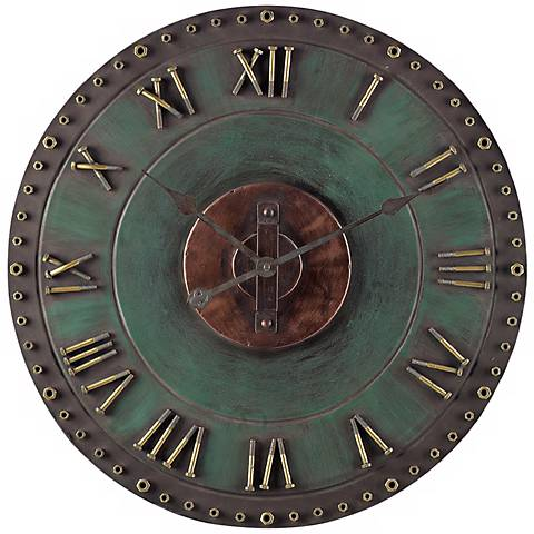 "Metal 24"" Wide Green and Gold Outdoor Wall Clock"