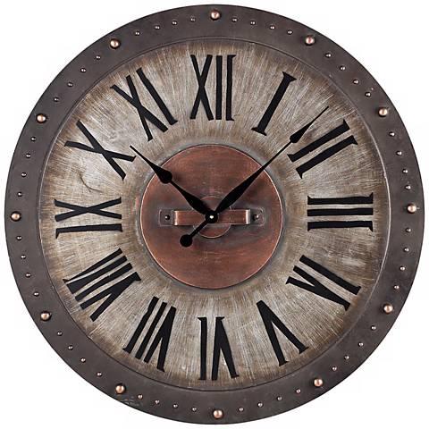 """Gray Metal 24"""" Wide Outdoor Wall Clock"""