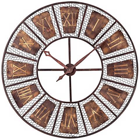 """Bronze and Black 35"""" Wide Outdoor Wall Clock"""
