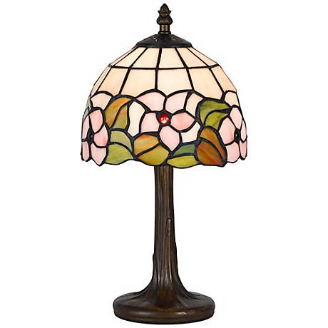 """Flowers And Leaves 13 1/2"""" High Tiffany Accent Lamp"""