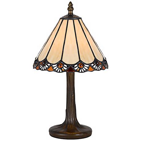 Fan Trim Antique Brass Tiffany Style Accent Lamp
