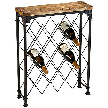 Hudson Rustic Wood and Iron Wine Rack