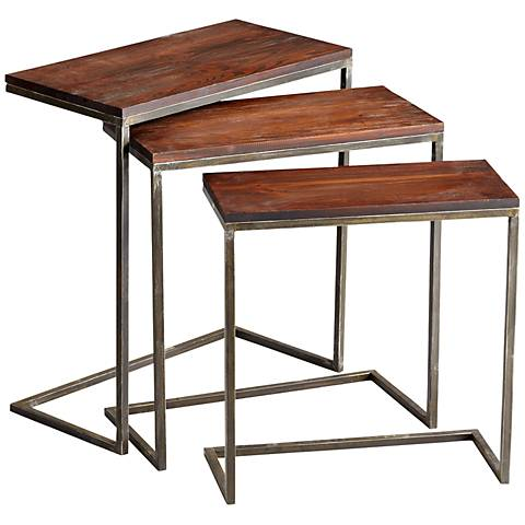 Set of 3 Wood and Iron Jules Nesting Tables