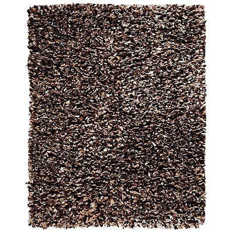 Confetti Paper Shag AMB0452 Brown Area Rug