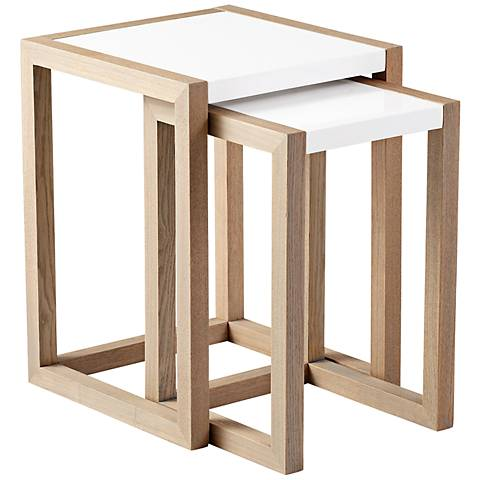 Set of 2 Grey and White Becket Nesting Tables