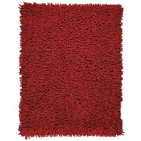 Silky Shag AMB0652 Crimson Red Area Rug