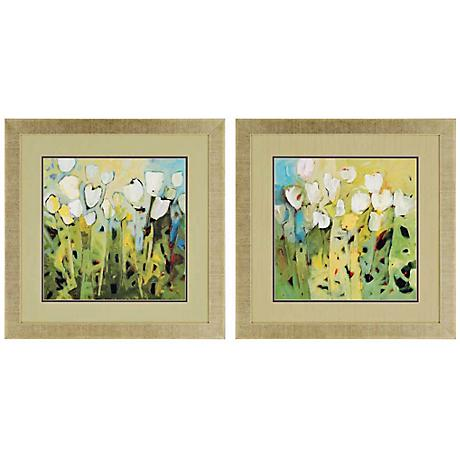 "Set of 2 White Tulips 28"" Square Framed Floral Wall Art"