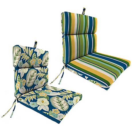 """Light Blue and Green French 21"""" Outdoor Chair Cushion"""