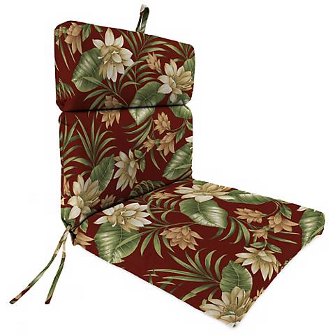 "Pompei Cream Olive French Edge 21"" Outdoor Chair Cushion"