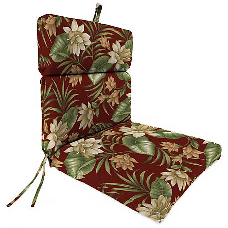 """Pompei Cream Olive French Edge 21"""" Outdoor Chair Cushion"""