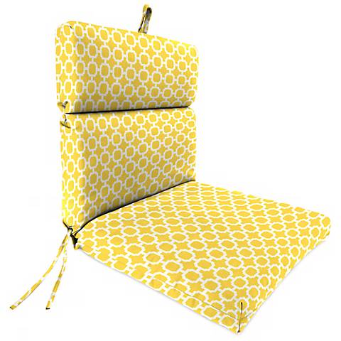 "Yellow and Cream French Edge 21"" Outdoor Chair Cushion"