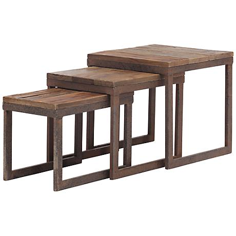 Zuo Civic Center Distressed Wood Nesting Tables