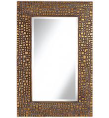 "Textured Relief 36"" High Bronze Wall Mirror"