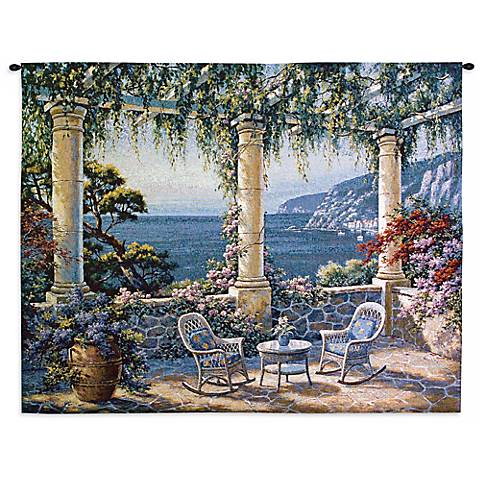 "Mediterranean Terrace 53"" Wide Wall Tapestry"