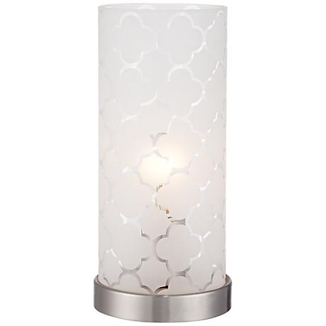 Babette 11 high white glass cylinder accent lamp 2d559 lamps plus - Artistic d lamp shade designed with modern and elegant shape style ...