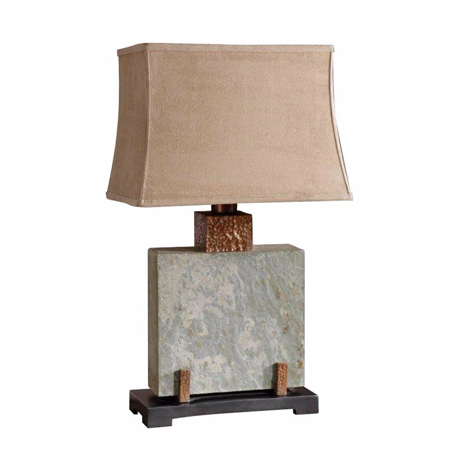 Uttermost Square Slate Indoor   Outdoor Table Lamp
