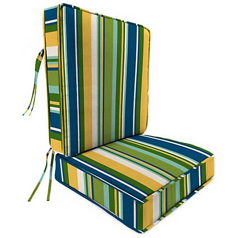 Light Blue and Green II Attached Outdoor Back Cushion