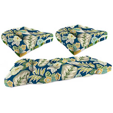 Set of 3 Light Blue and  Green Outdoor Wicker Seat Cushions