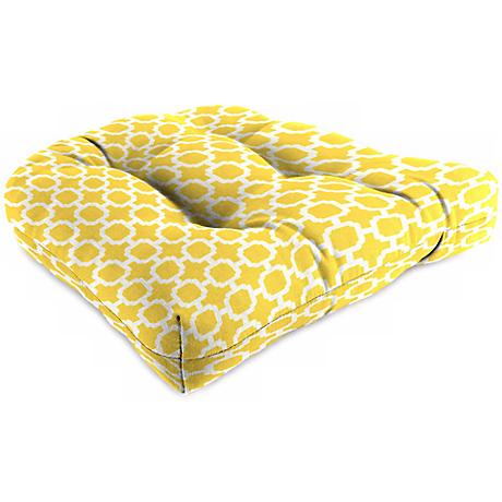 Yellow and Cream Outdoor Wicker Seat Cushion