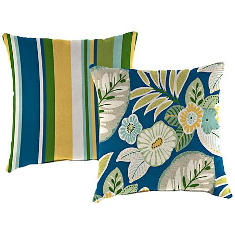 """Light Blue and Green 14"""" Outdoor Edge Accent Pillow"""