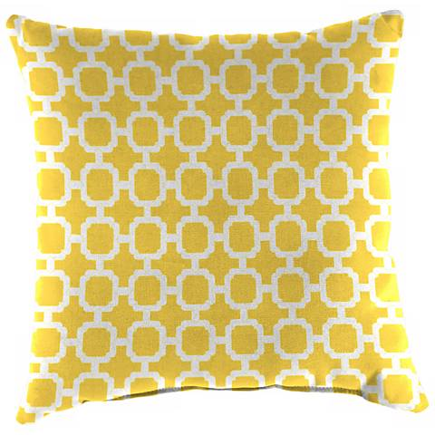 """Yellow and Cream 14"""" Various Edge Indoor-Outdoor Pillow"""