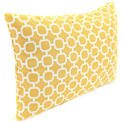 "Yellow and Cream 18"" Various Edge Indoor-Outdoor Pillow"