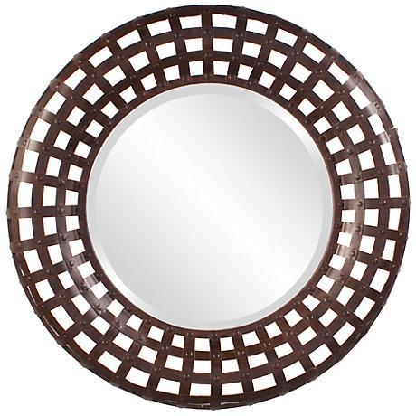 """Howard Elliott 36"""" Wide Round Rust Metal Wall Mirror"""