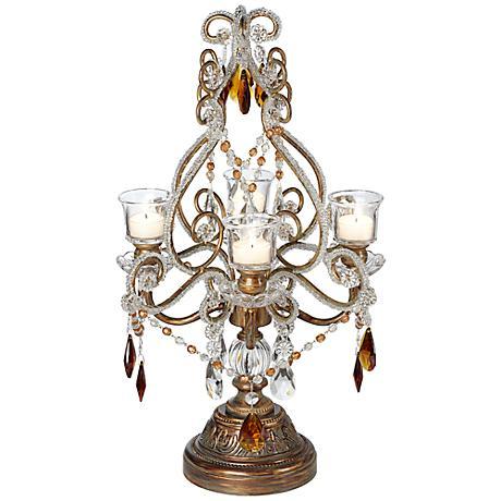 "Bronze, Gold and Amber 21"" High Candelabra Candle Holder"