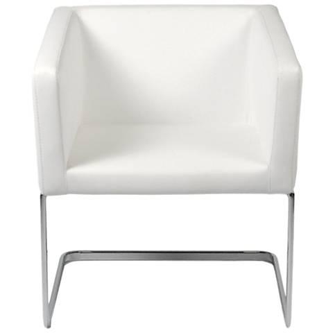 Ari White Leatherette and Chrome Lounge Chair