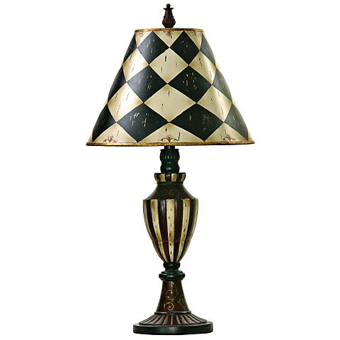 Harlequin and Stripe Black and Antique White Urn Table Lamp