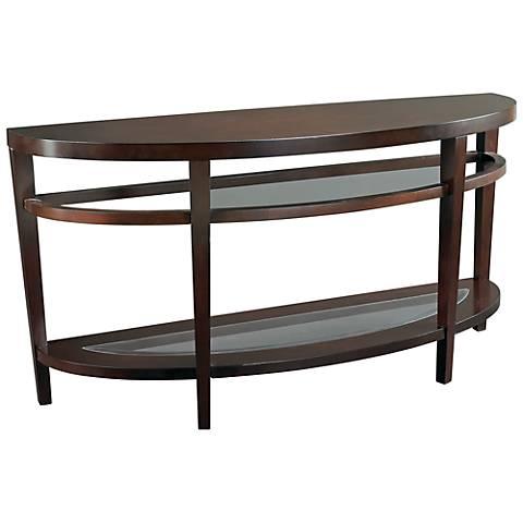 Hammary Urbana Semi-Circle Glass and Wood Sofa Table