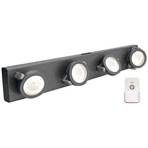 led battery powered gray light bar with remote 2f971 lamps plus. Black Bedroom Furniture Sets. Home Design Ideas