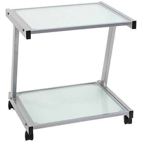 L Aluminum and Frosted Glass Printer Cart