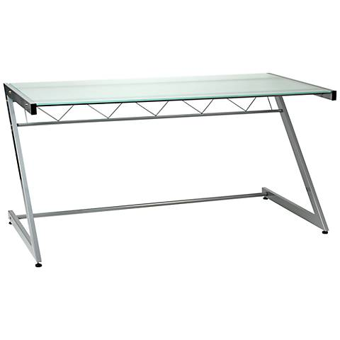 Zeus Deluxe Large Frosted Glass Aluminum Desk