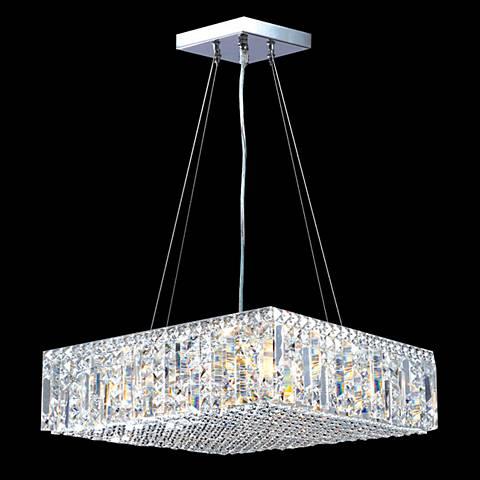 "James Moder Contemporary 20""W Silver Crystal Pendant Light"