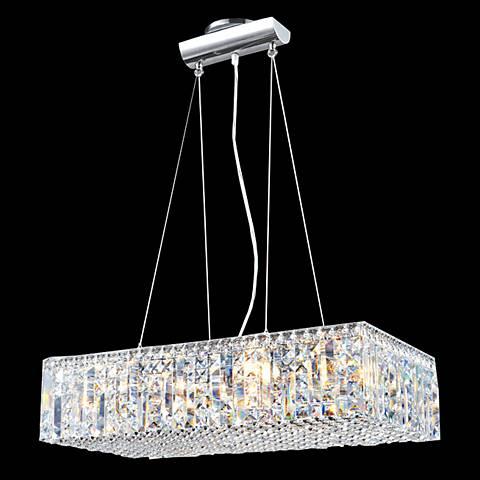 "James Moder Contemporary 24""W Silver Crystal Pendant Light"