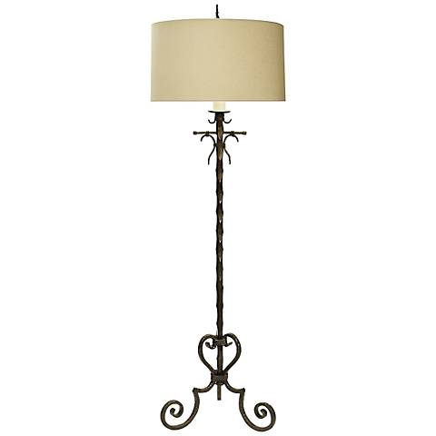 Natural Light Cartagena Floor Lamp With Oatmeal Linen Shade