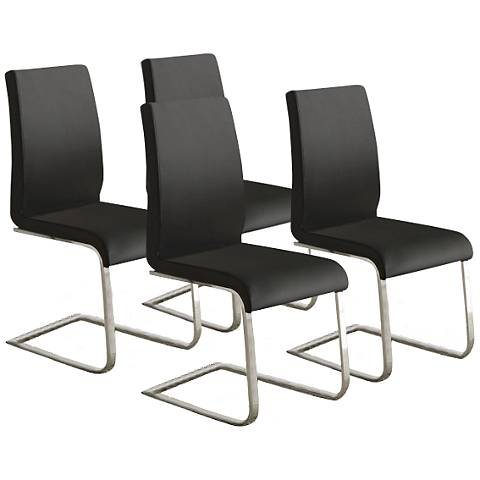 HomeBelle Set of 4 Modern Black Side Chairs