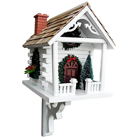 White Christmas Cabin Birdhouse