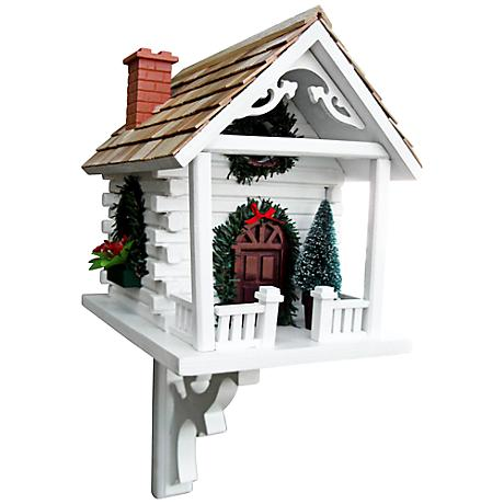 White Christmas Cabin Birdhouse