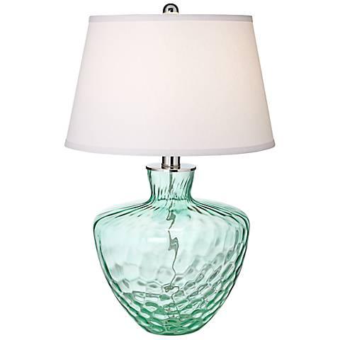 "Crystal Cascade Emerald Glass 26"" High Table Lamp"