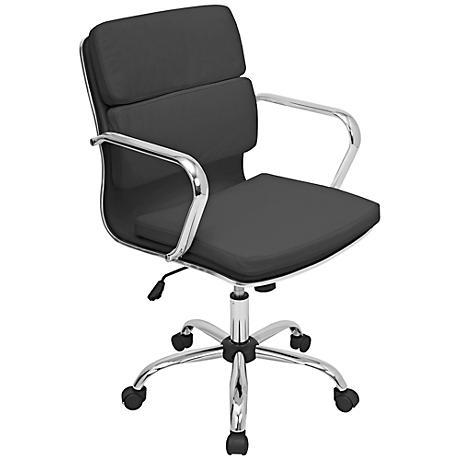 Bachelor Chrome and Black Office Arm Chair