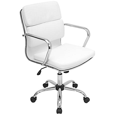 Bachelor Chrome and White Office Arm Chair