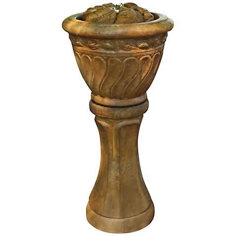 "Leaf Bubbler Cast Stone LED 34"" High Fountain"