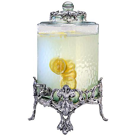 Arthur Court Fleur-de-Lis Rippled Glass Beverage Server