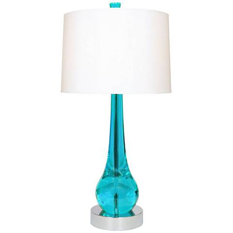 Van Teal Charming Turquoise And Chrome Modern Table Lamp