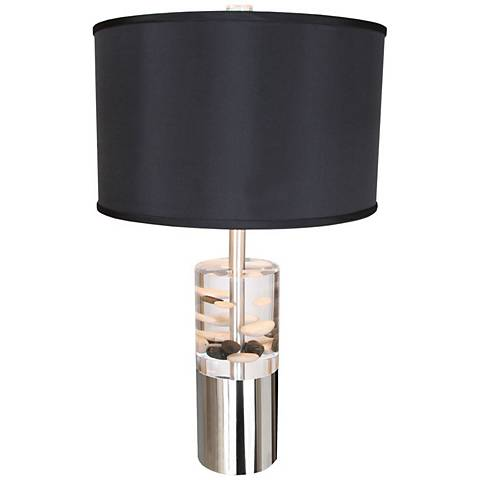 Van Teal River Pebble And Acrylic Modern Cylinder Table Lamp