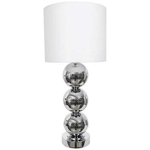 Van Teal Triple Run Chrome And White Linen Table Lamp