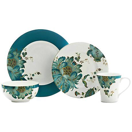 222 Fifth Eliza Teal 16-Piece Dinnerware Set